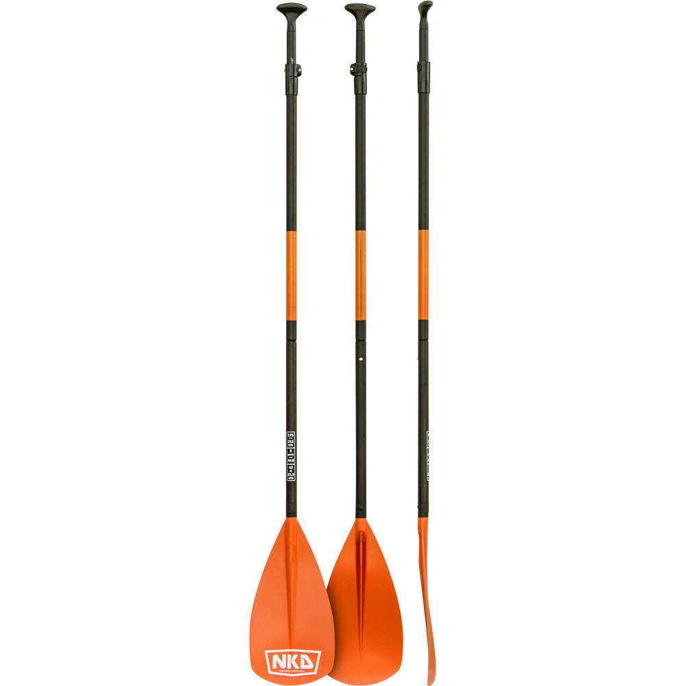 3 different angles of 3 standing NKX Classic Aluminum SUP Paddle 3-Piece (Orange)
